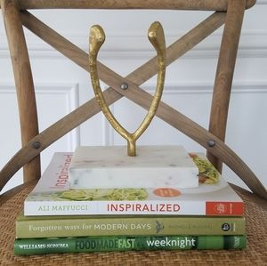 Brass and marble wishbone statue